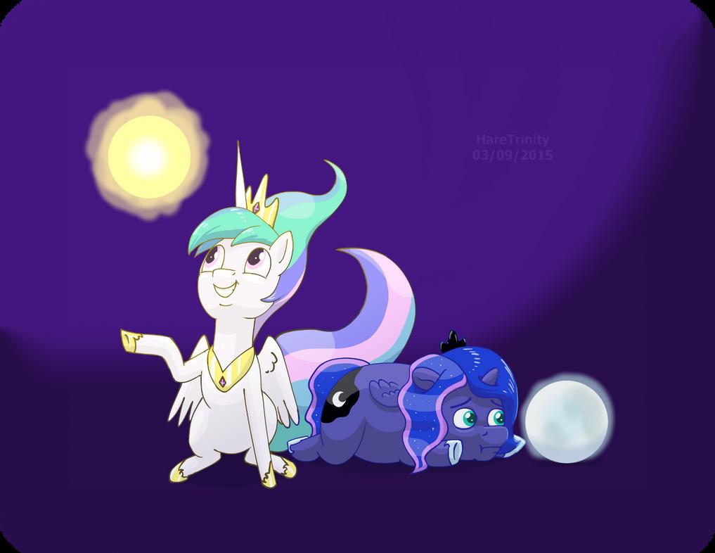 Sunshine and Misery Moon with their orbs by HareTrinity