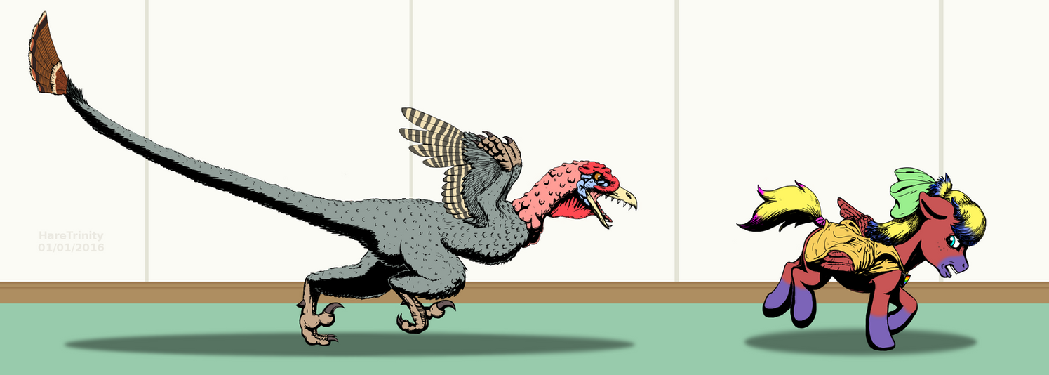 Turkey dinosaur attack by HareTrinity