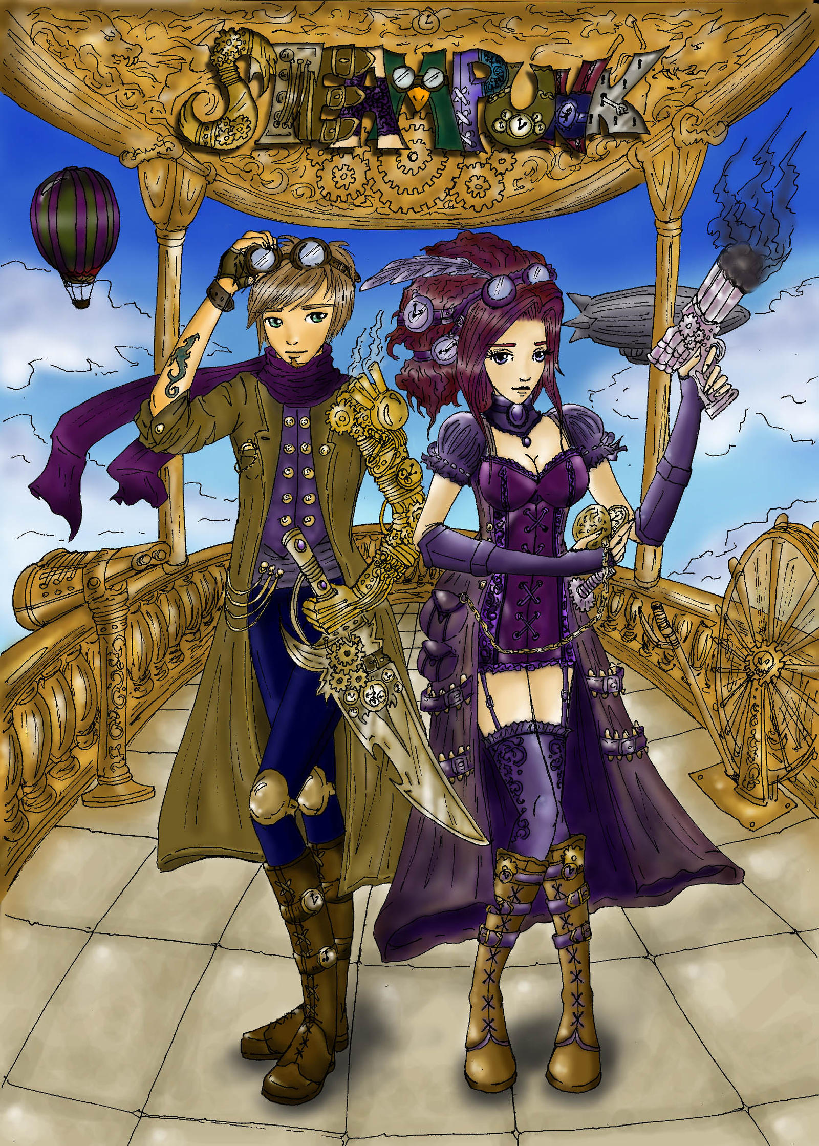 SteamPunk Colored WIP by patty110692