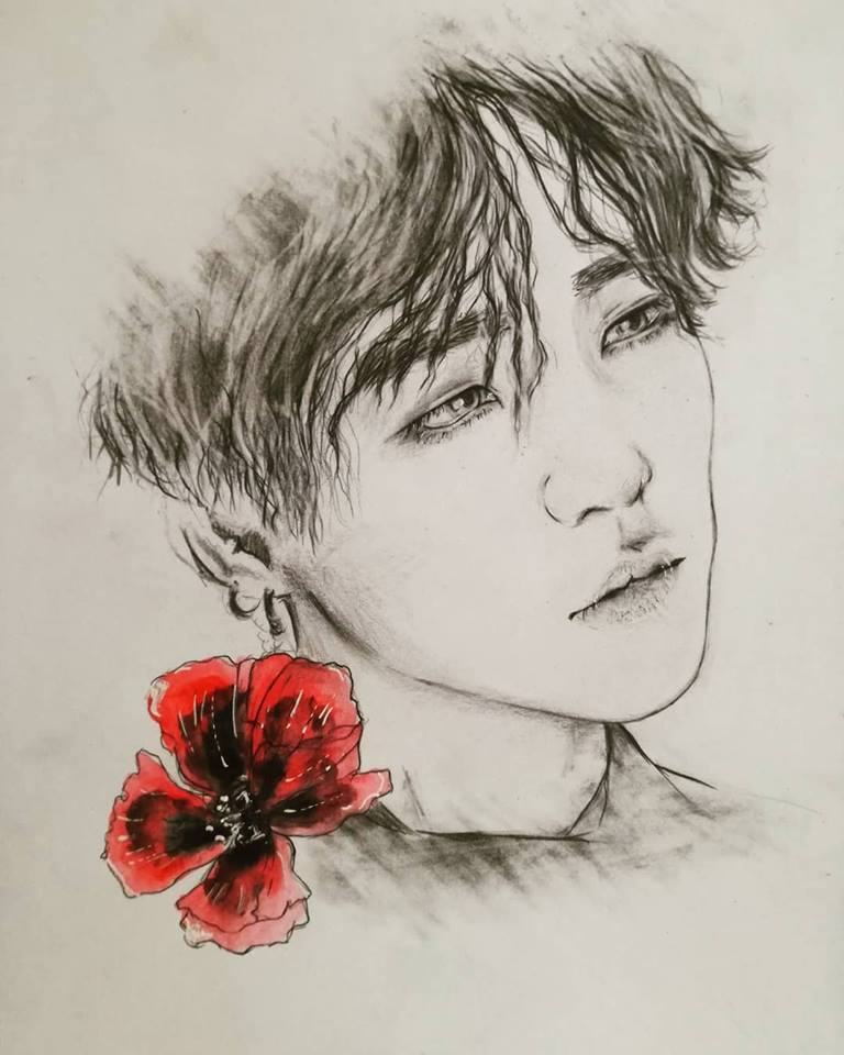 Fanart - BTS - Suga - poppy seed flower by AliceRossi