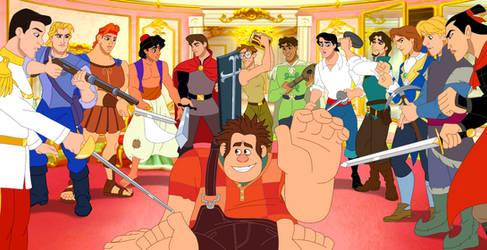 Ralph meets the Disney princes by Lunamidnight1998