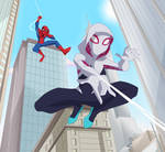 Spider-Man and Ghost Spider swings