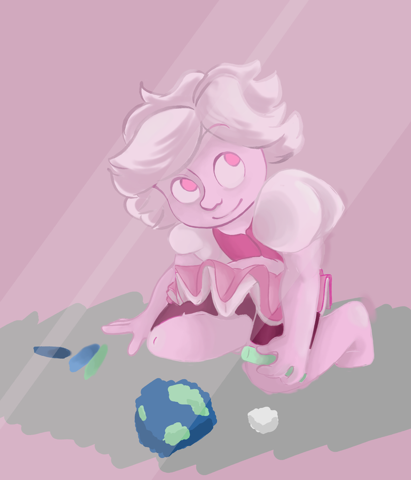 A cute little picture of Pink Diamond drawing the earth with chalk because she can sometimes be a cute little bean