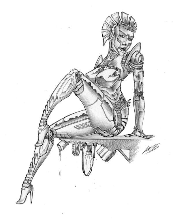 Pinup Robot Girl By RobertLaszloKiss On DeviantArt