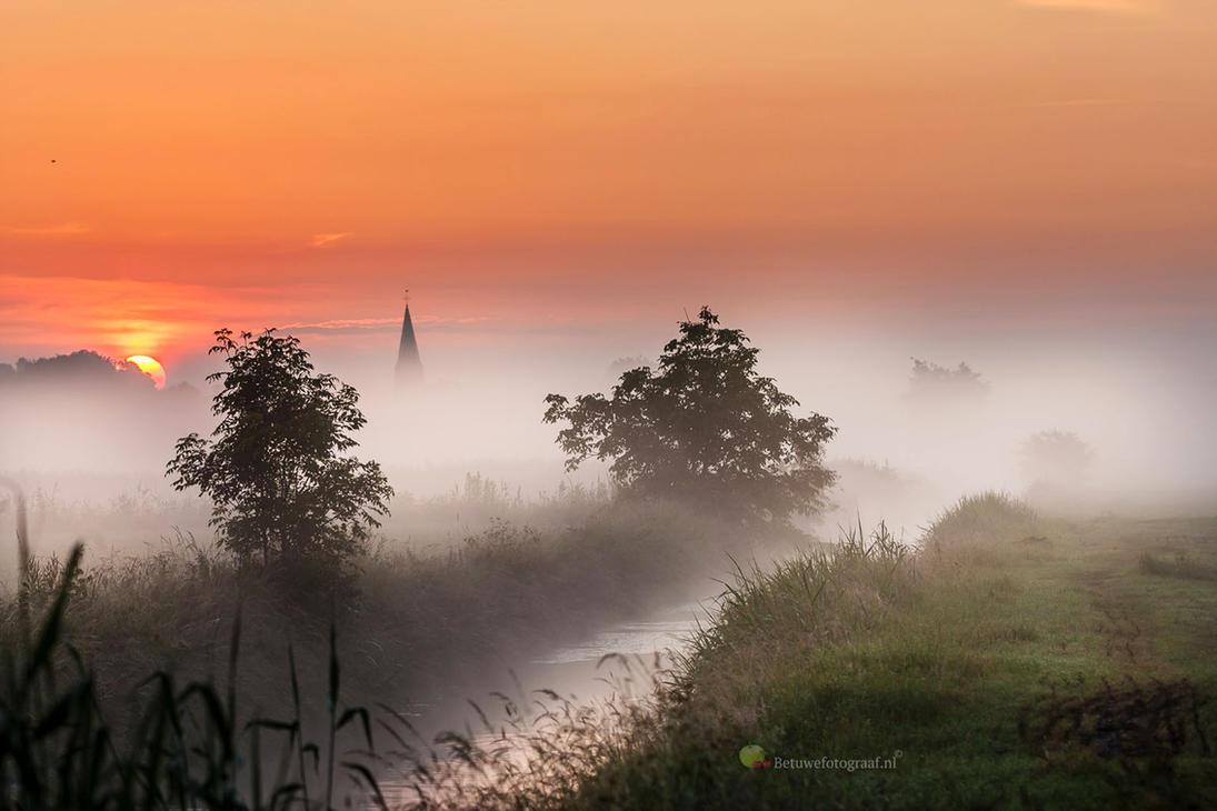Misty Magic Morning in Holland by Betuwefotograaf