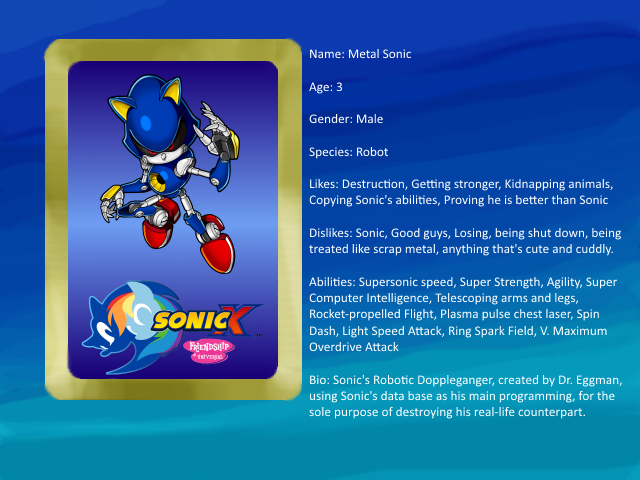 Sonic X: FIU eye-catch card: Metal Sonic by bvge