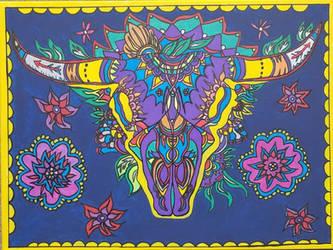 Longhorn Sugar Skull by AmandaFerguson070707