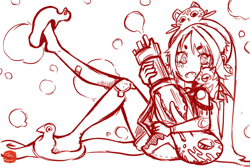 water gun fight ! - sketch part by w22986703