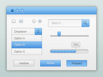 Blue and white GUI kit PSD