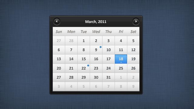 Sleek calendar PSD by emey87