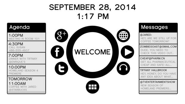 Black and White User Interface Mockup