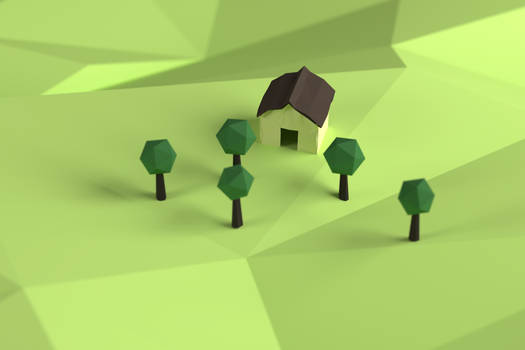 Low-Poly House and Trees