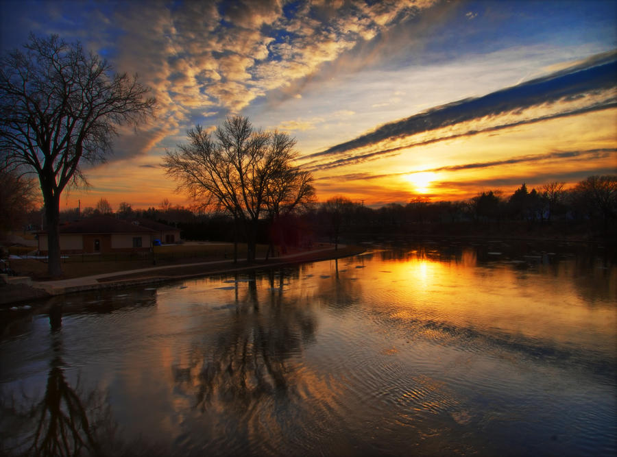 Rock River Sunset by jazzkidd