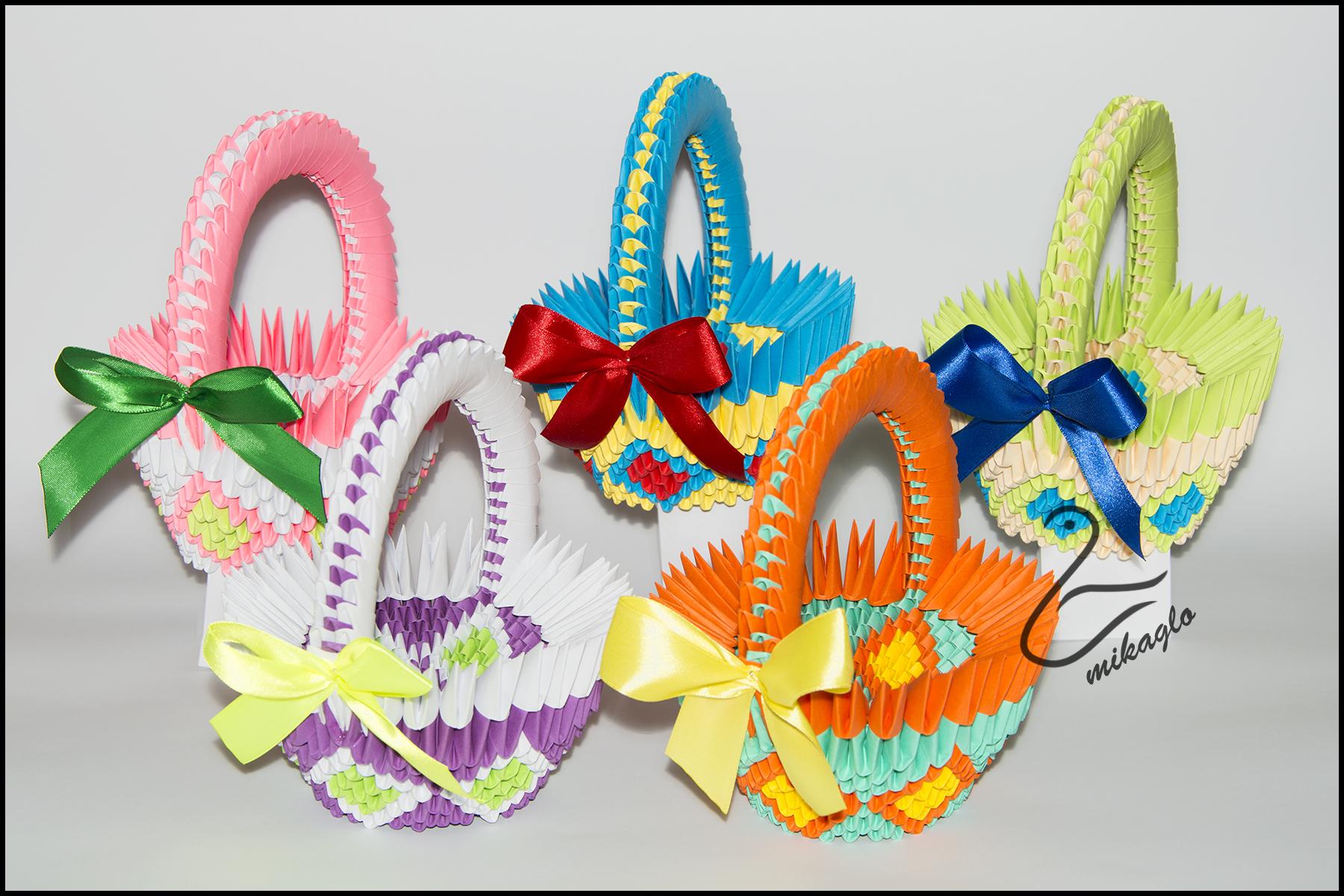 mikaglo origami 3d baskets easter by majka16g on deviantart