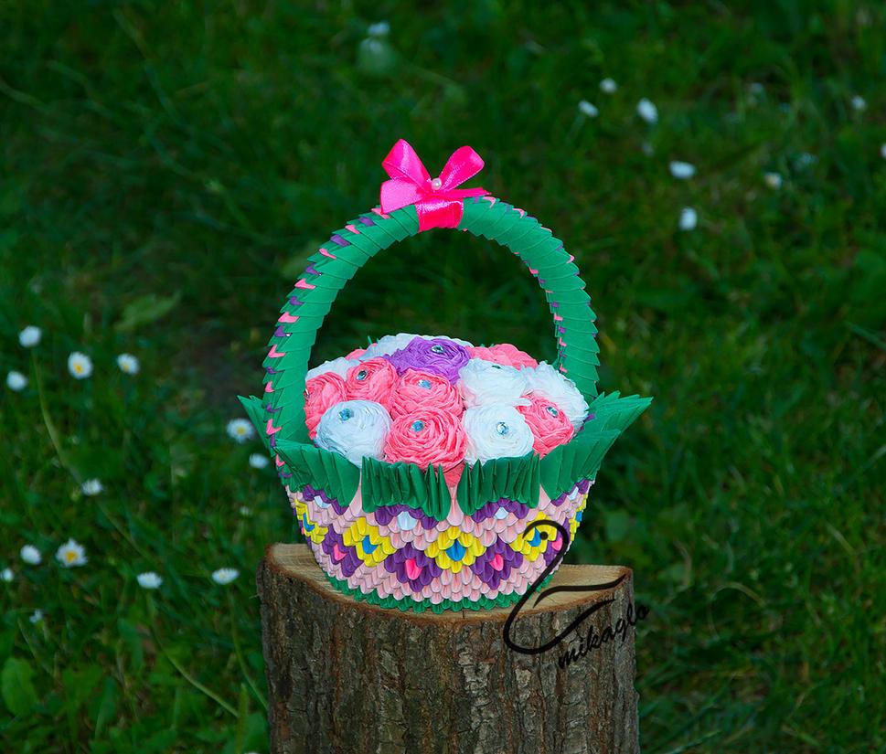 Mikaglo Origami 3d Mini Flower Basket By Majka16g On Deviantart