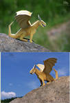 the golden paper toy dragon by Strecno