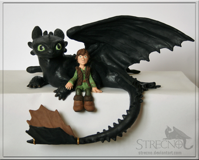 Toothless and Hiccup Sculpture by Strecno