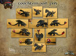Toothless and Fish - various views