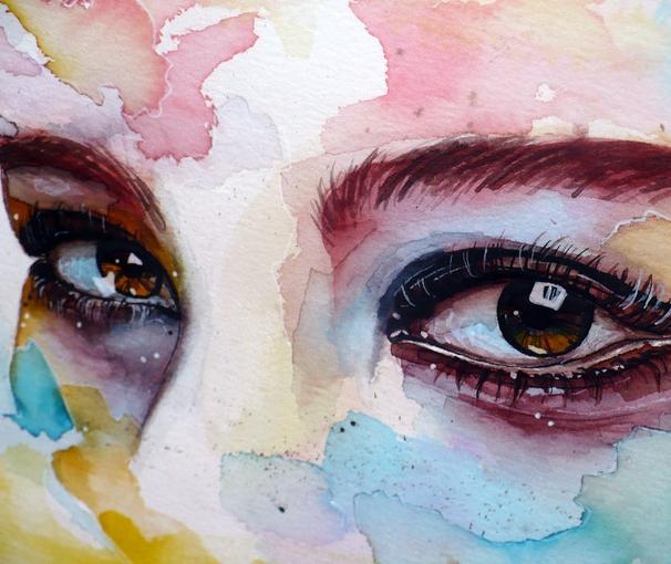 Нарисовать глаз красками