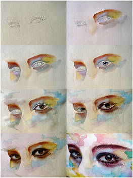 Watercolor eye study, step by step