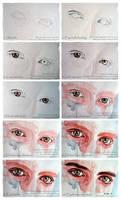 Watercolor eyes in flesh tone tutorial by jane-beata