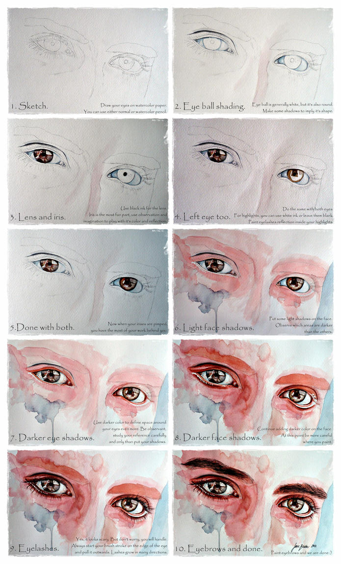 Watercolor eyes in flesh tone tutorial by jane beata on for Watercolor tutorials step by step