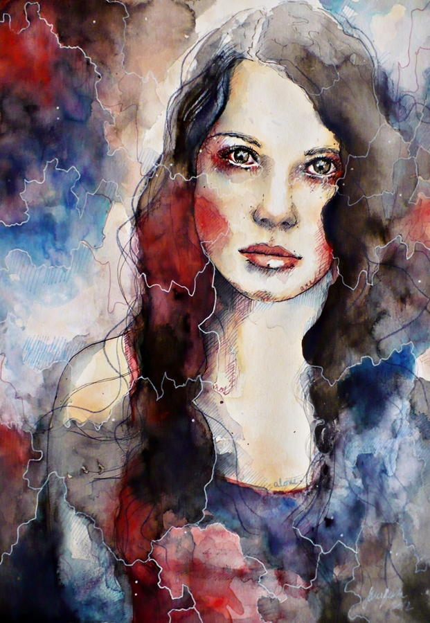 Timebomb, watercolor portrait speed painting