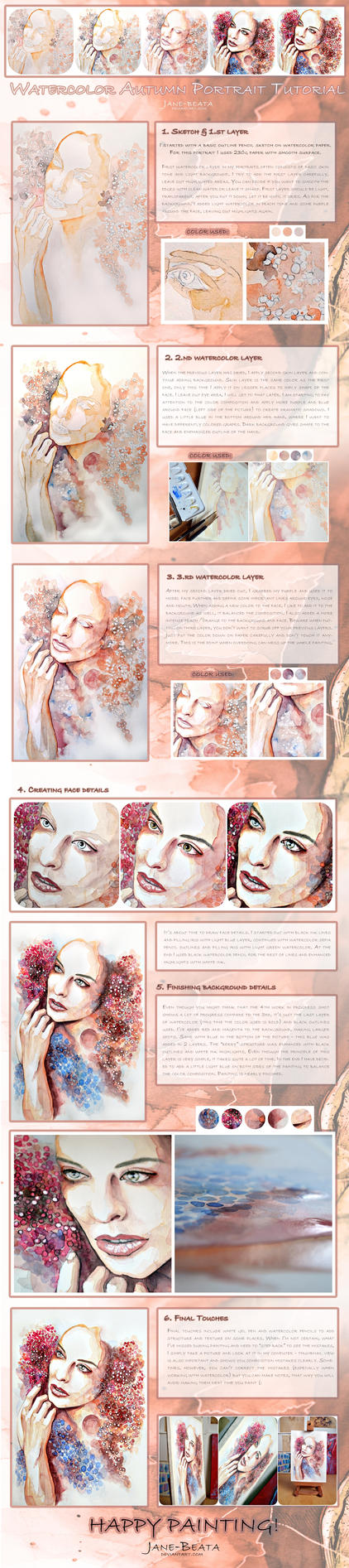 Watercolor Autumn Portrait Tutorial by jane-beata