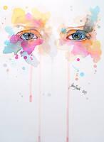 Watercolor eye study - Spring variations