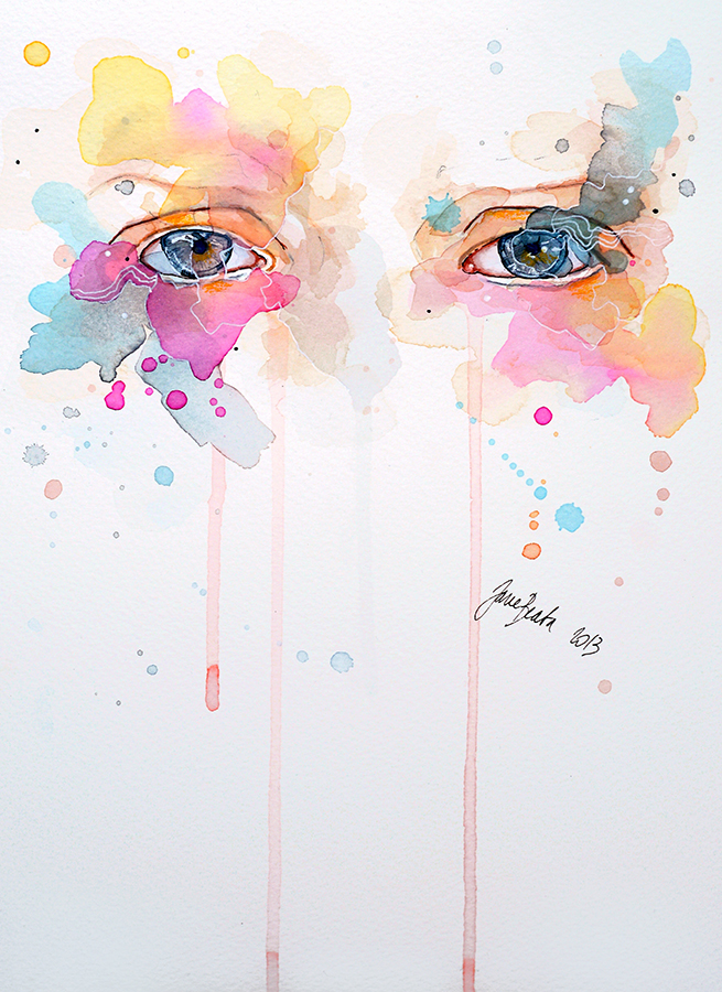 Watercolor eye study - Spring variations by jane-beata