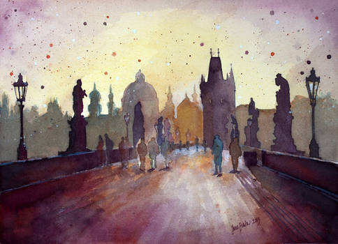 Charles Bridge, Prague, watercolor painting