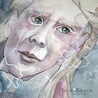 Closeup, watercolor girl by jane-beata