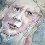 Closeup, watercolor girl