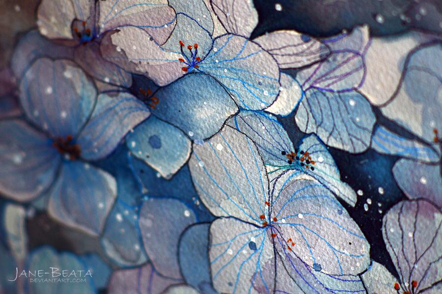 Blue hydrangea, watercolor painting - closeup