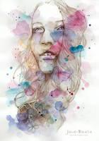Color me I, watercolor and pencil sketch