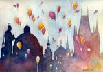 Balloons at Charles Bridge, Prague
