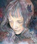 Blue butterflies, watercolor