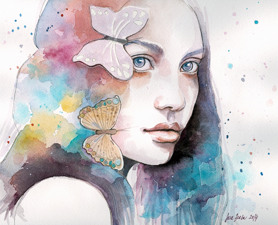 Lady with a butterfly, watercolor study by jane-beata
