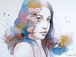 Lady with a butterfly, watercolor painting