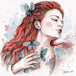 Girl with a butterfly, watercolor