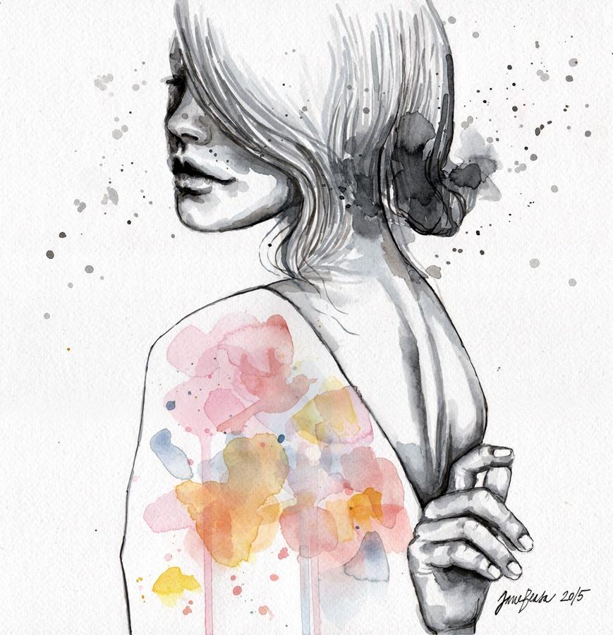 Happy Medium: Watercolors/Ink by OfOneSoul on DeviantArt