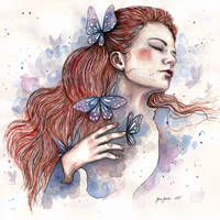 Girl with a butterfly II, watercolor by jane-beata