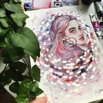 Watercolor portrait in purple, Jane-Beata artwork