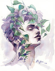 A man with ivy, WATERCOLOR portrait painting