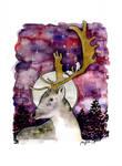 Watercolor deer, animal portrait series by jane-beata