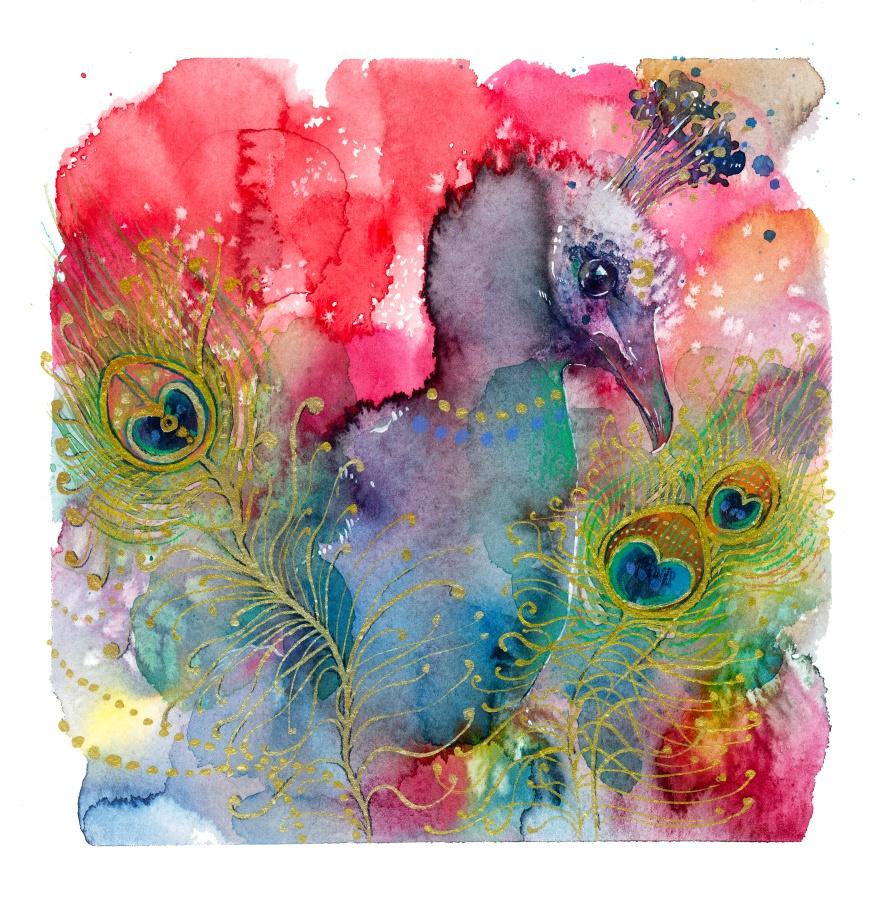 Peacock, watercolor animal painting by jane-beata
