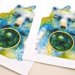 Watercolor bear, art print preview