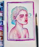 Watercolor portrait - painting small thumbnails