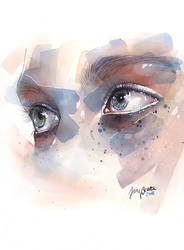 Watercolor eye study, splatters by jane-beata