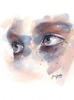 Watercolor eye study, splatters